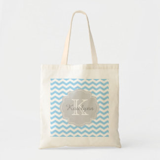 Monogram Turquoise Chevron Zigzag Custom Tote Bag