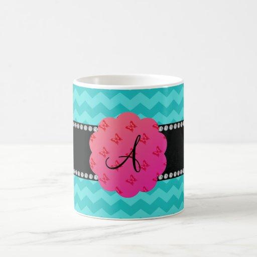 Monogram turquoise chevrons butterflies diamonds mugs