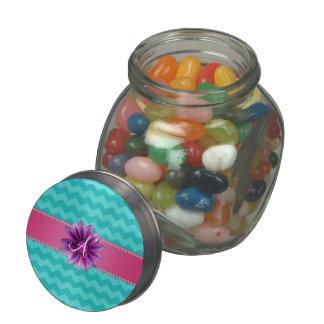 Monogram turquoise chevrons pink daisy glass candy jars