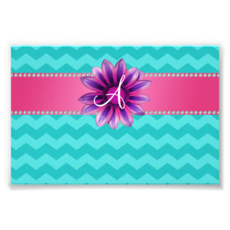 Monogram turquoise chevrons pink daisy photograph