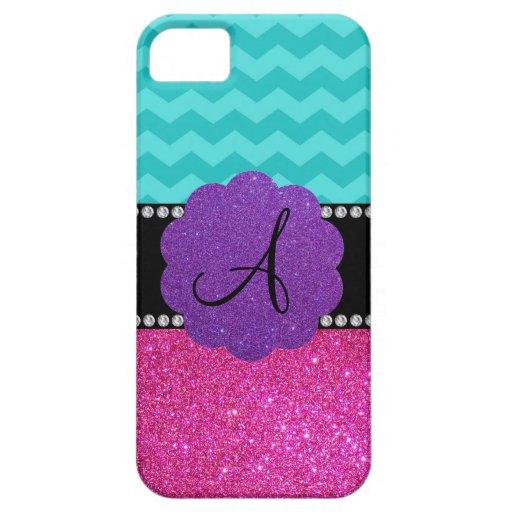 Monogram turquoise chevrons pink glitter iPhone 5 cases
