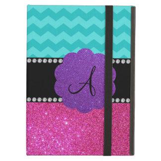 Monogram turquoise chevrons pink glitter iPad air cases