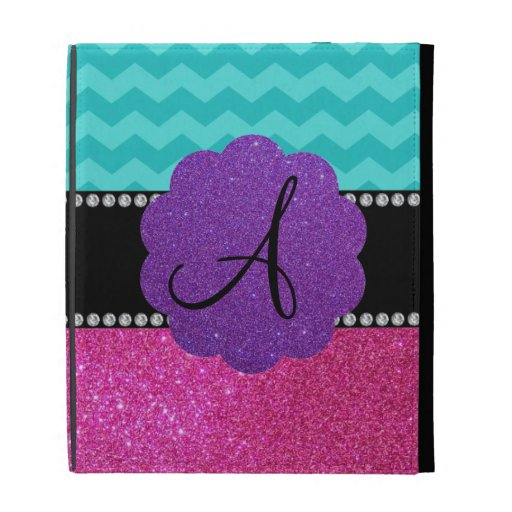 Monogram turquoise chevrons pink glitter iPad case