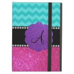 Monogram turquoise chevrons pink glitter iPad cases