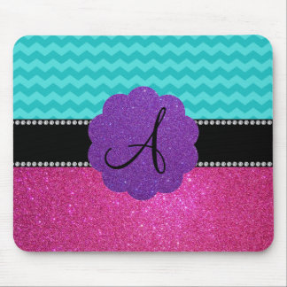 Monogram turquoise chevrons pink glitter mouse pad