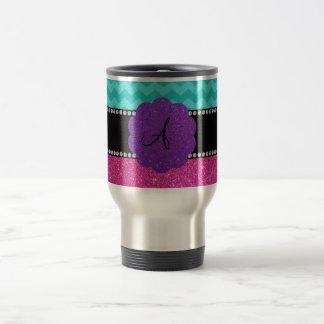 Monogram turquoise chevrons pink glitter 15 oz stainless steel travel mug