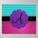 Monogram turquoise chevrons pink glitter print