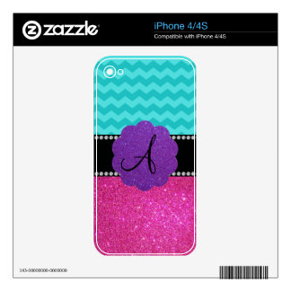 Monogram turquoise chevrons pink glitter skins for iPhone 4S