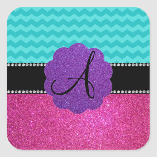 Monogram turquoise chevrons pink glitter stickers