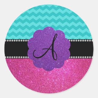 Monogram turquoise chevrons pink glitter round stickers
