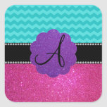 Monogram turquoise chevrons pink glitter stickers