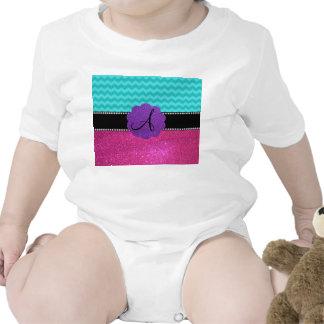 Monogram turquoise chevrons pink glitter baby creeper