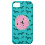 Monogram turquoise dachshund pattern iPhone 5 covers