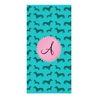Monogram turquoise dachshund pattern photo card template