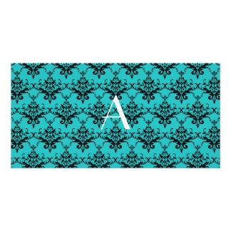 Monogram Turquoise damask Photo Card