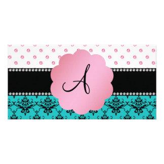 Monogram turquoise damask pink diamonds photo card