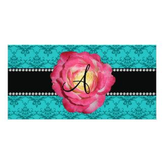 Monogram turquoise damask pink rose photo card