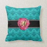 Monogram turquoise damask pink rose throw pillow