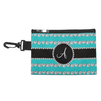 Monogram turquoise diamond hearts stripes accessory bag