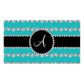 Monogram turquoise diamond hearts stripes business card