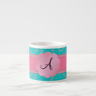 Monogram turquoise diamond swirls espresso mugs