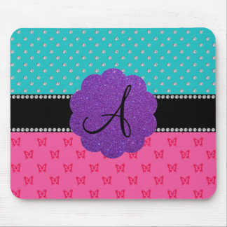 Monogram turquoise diamonds pink butterflies mouse pad