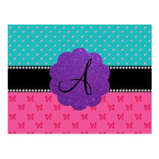 Monogram turquoise diamonds pink butterflies postcard