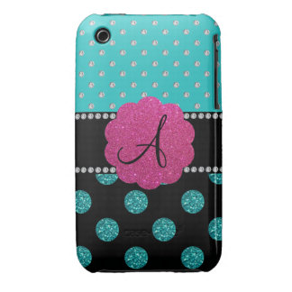 Monogram turquoise diamonds polka dots iPhone 3 Case-Mate cases