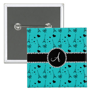 Monogram turquoise eiffel tower pattern 2 inch square button