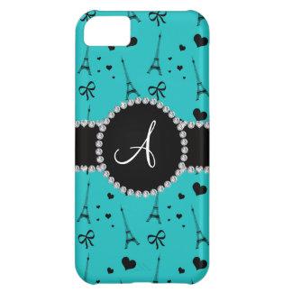 Monogram turquoise eiffel tower pattern iPhone 5C case