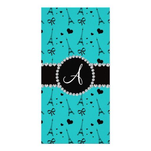 Monogram turquoise eiffel tower pattern photo greeting card