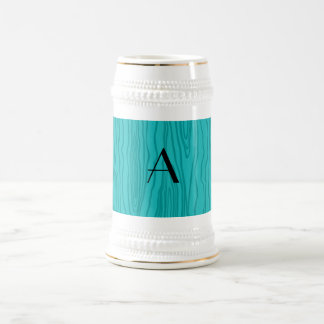 Monogram turquoise faux bois mugs