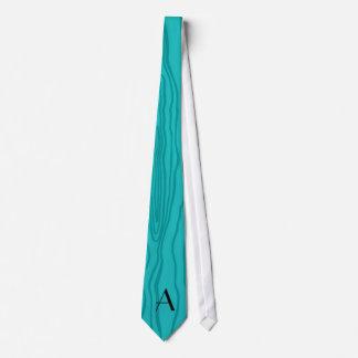 Monogram turquoise faux bois tie