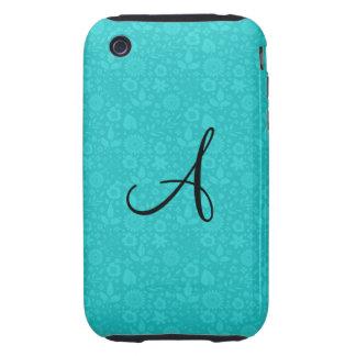 Monogram turquoise flowers tough iPhone 3 cases