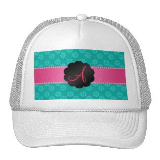 Monogram turquoise flowers mesh hats
