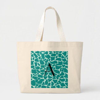 Monogram turquoise giraffe print tote bag