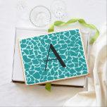 Monogram turquoise giraffe print jumbo cookie