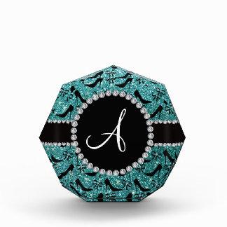 Monogram turquoise glitter black high heels bow award
