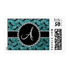 Monogram turquoise glitter black high heels bow postage