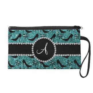 Monogram turquoise glitter black high heels bow wristlets