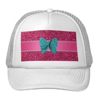 Monogram turquoise glitter butterfly pink hat