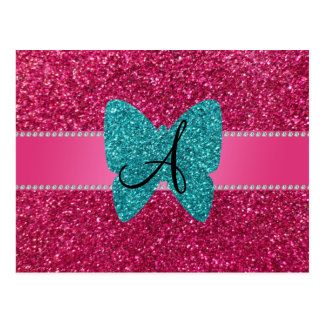 Monogram turquoise glitter butterfly pink post card
