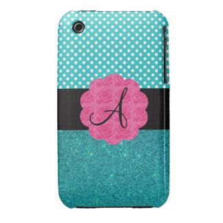 Monogram turquoise glitter iPhone 3 Case-Mate case