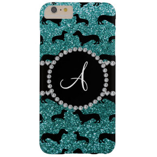 Monogram turquoise glitter dachshund barely there iPhone 6 plus case