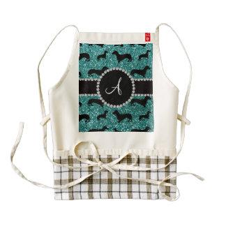 Monogram turquoise glitter dachshund zazzle HEART apron