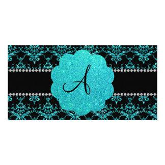 Monogram turquoise glitter damask photo card