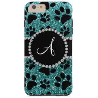Monogram turquoise glitter dog paws tough iPhone 6 plus case