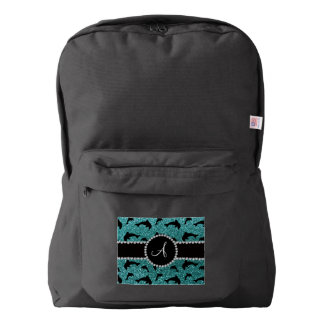 Monogram turquoise glitter dolphins backpack