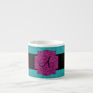 Monogram turquoise glitter espresso cup