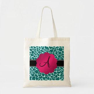 Monogram turquoise glitter giraffe print canvas bag
